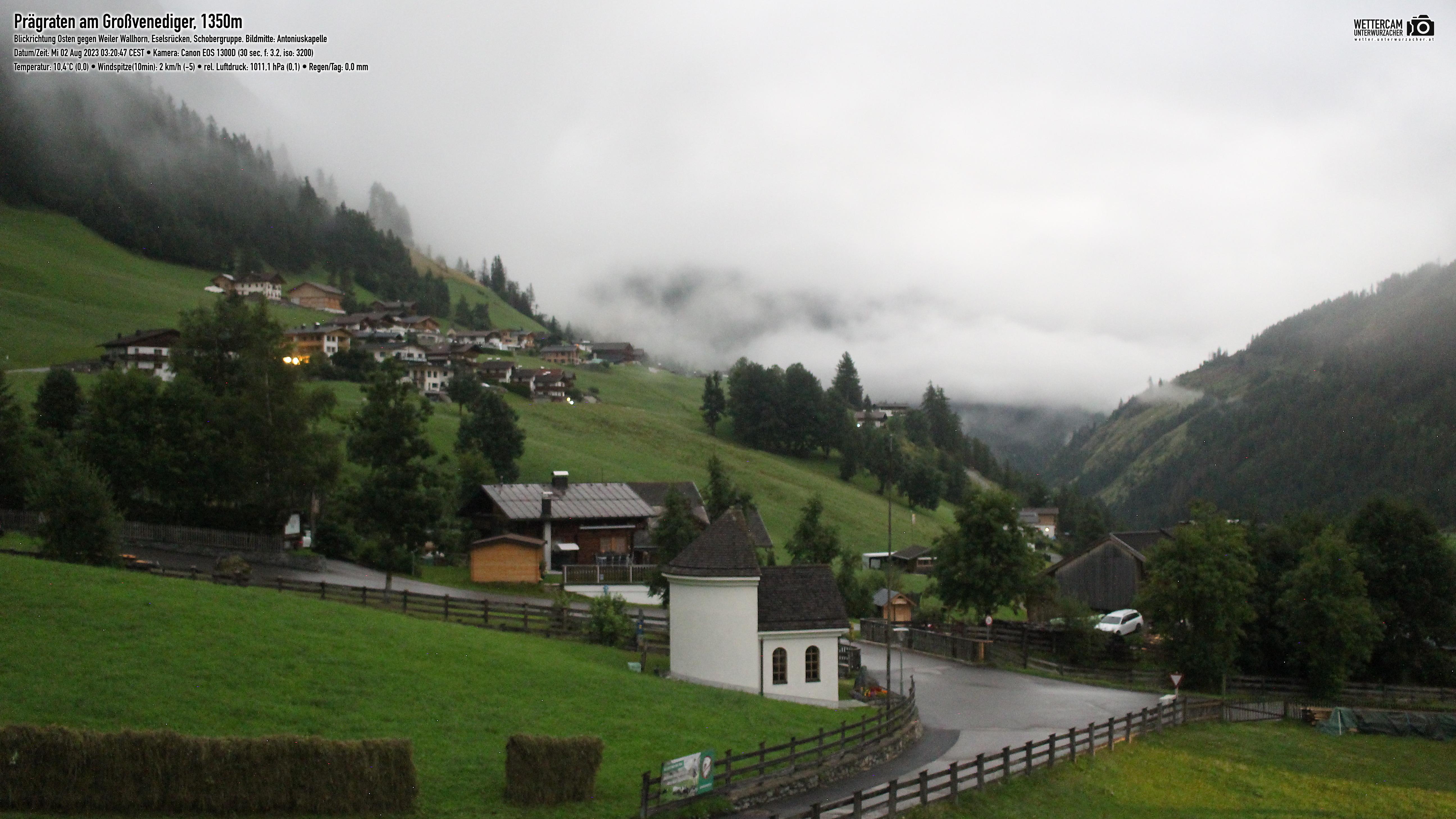 Wetter und Livebild Prägraten am Großvenediger, Livecam und Webcam Prägraten am Großvenediger - 1312 Meter Seehöhe
